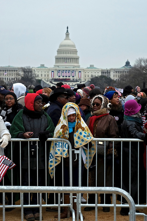 Supporters wait to exit the National Mall after the Second Inauguration of President Barack Obama on Jan. 21, 2013.