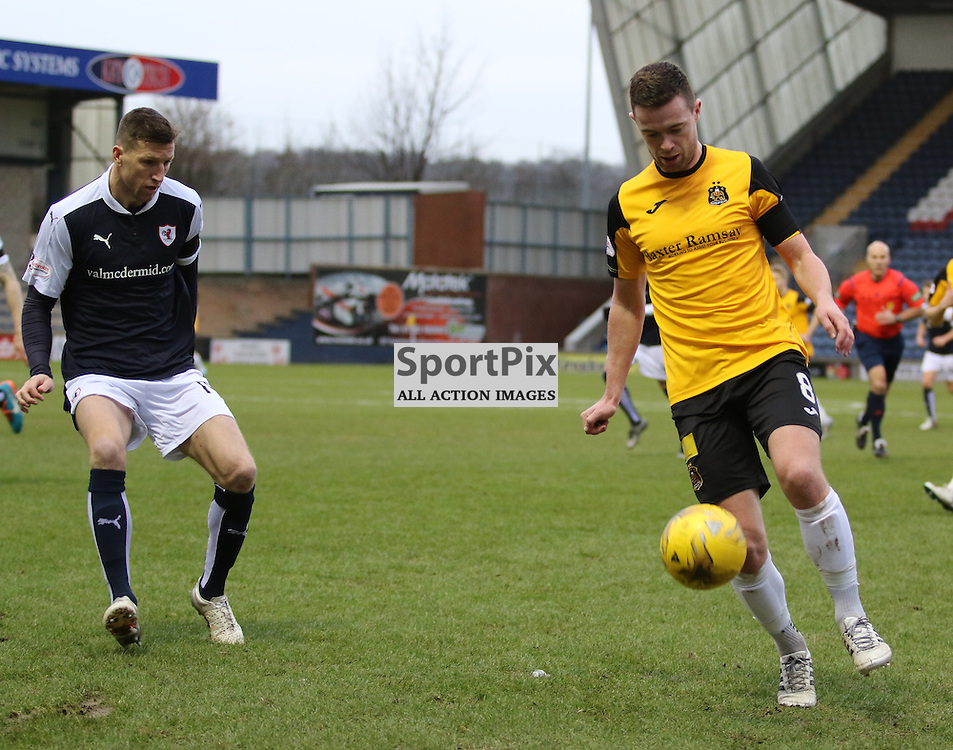 Grant Gallagher in action during the Raith Rovers v Dumbarton  Scottish Championship 23 January 2016<br /> <br /> (c) Andy Scott | SportPix.org.uk