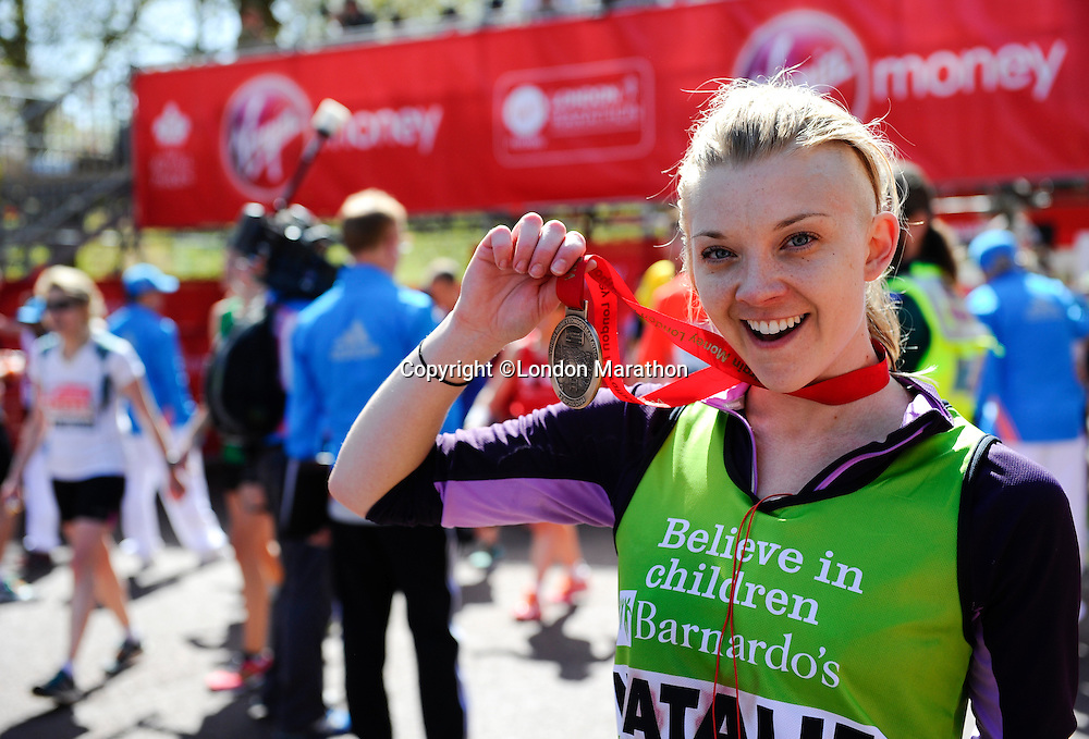 Game of Thrones actress Natalie Dorner<br /> The Virgin Money London Marathon 2014<br /> 13 April 2014<br /> Photo: Javier Garcia/Virgin Money London Marathon<br /> media@london-marathon.co.uk