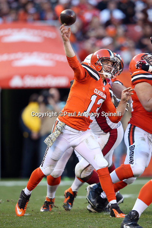 Cleveland Browns quarterback Josh McCown (13) throws a fourth quarter pass during the 2015 week 8 regular season NFL football game against the Arizona Cardinals on Sunday, Nov. 1, 2015 in Cleveland. The Cardinals won the game 34-20. (©Paul Anthony Spinelli)