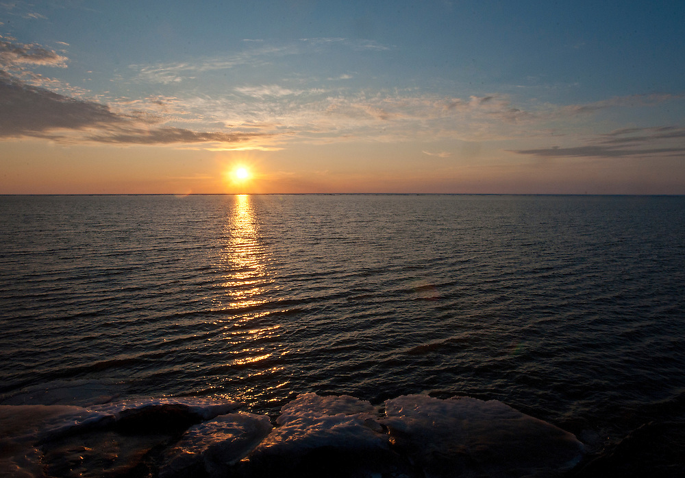 Arctic Summer sun low on the northern horizon of the Beaufort Sea,ANWR, Alaska