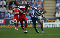 Photo: Lee Earle.<br /> Reading v Middlesbrough. The Barclays Premiership. 19/08/2006. Middlesbrough's George Boateng (L) battles with James Harper.