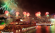 Fireworks over Funchal Bay on Madeira Island, Fogo de artificio na baia do Funchal