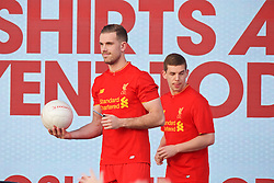 LIVERPOOL, ENGLAND - Monday, May 9, 2016: Liverpool's captain Jordan Henderson and Jon Flanagan at the launch of the New Balance 2016/17 Liverpool FC kit at a live event in front of supporters at the Royal Liver Building on Liverpool's historic World Heritage waterfront. (Pic by David Rawcliffe/Propaganda)
