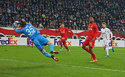 AUGSBURG, GERMANY - Thursday, February 18, 2016: Liverpool's Daniel Sturridge is denied by FC Augsburg's goalkeeper Marwin Hitz during the UEFA Europa League Round of 32 1st Leg match at the Augsburg Arena. (Pic by David Rawcliffe/Propaganda)
