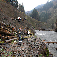 Nick Wolcott flies his Octicopter above the White Salmon River filming for the documentary movie DamNation.
