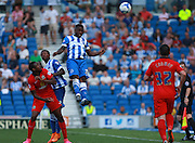 Brighton midfielder winger Kazenga LuaLua wins a high ball during the Sky Bet Championship match between Brighton and Hove Albion and Blackburn Rovers at the American Express Community Stadium, Brighton and Hove, England on 22 August 2015. Photo by Bennett Dean.