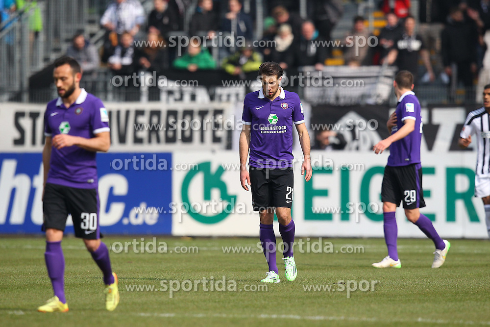 15.03.2015, Esprit-Arena, Aalen, GER, 2. FBL, VfR Aalen vs FC Erzgebirge Aue, 25. Runde, im Bild Patrick Schoenfeld ( FC Erzgebirge Aue ) rechts, Hintergrund Stipe Vucur ( FC Erzgebirge Aue ) // during the 2nd German Bundesliga 25th round match between VfR Aalen and FC Erzgebirge Aue at the Esprit-Arena in Aalen, Germany on 2015/03/15. EXPA Pictures &copy; 2015, PhotoCredit: EXPA/ Eibner-Pressefoto/ Langer<br /> <br /> *****ATTENTION - OUT of GER*****
