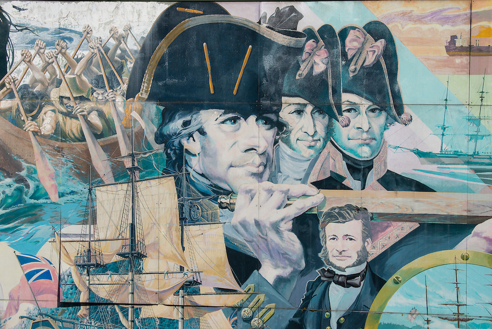 Canada, British Columbia, Vancouver ,English Bay, Kitsilano Beach, University Peninsula, mural at maritime museum
