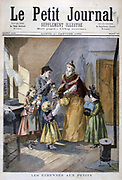 Well dressed young woman and her daughter bringing presents to a poor family in a bare attic with just a small stove for heating.  From 'Le Petit Journal', Paris, 1 January 1894.  France, Charity, Poverty, Riches