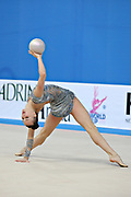 Rizatdinova Anna during final at ball in Pesaro World Cup at Adriatic Arena on April 28, 2013. Anna was born July 16, 1993 in Simferopol, she is a Ukrainian individual rhythmic gymnast.