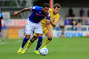 Nathaniel Mendez-Laing, Jonathan Meades during the EFL Sky Bet League 1 match between Rochdale and AFC Wimbledon at Spotland, Rochdale, England on 27 August 2016. Photo by Daniel Youngs.