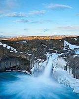 Aldeyjarfoss waterfall in winter. North Iceland.