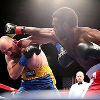 VERONA, NY - JUNE 08: Armus Guyton (R) throws a right hand to the head of Mike Diorio during the Golden Boy on ESPN fight night at Turning Stone Resort Casino on June 8, 2018 in Verona, New York. (Photo by Alex Menendez/Getty Images) *** Local Caption *** Armus Guyton; Mike Diorio