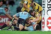 Brad Shields goes close to scoring a try. Waratahs v Hurricanes. 2012 Super Rugby round 15 match. Allianz Stadium, Sydney Australia on Saturday 2 June 2012. Photo: Clay Cross / photosport.co.nz