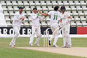 WICKET - Chris Wright celebrates the wicket of Rob Jones during the Bob Willis Trophy match between Lancashire County Cricket Club and Leicestershire County Cricket Club at Blackfinch New Road, Worcester, United Kingdom on 4 August 2020.