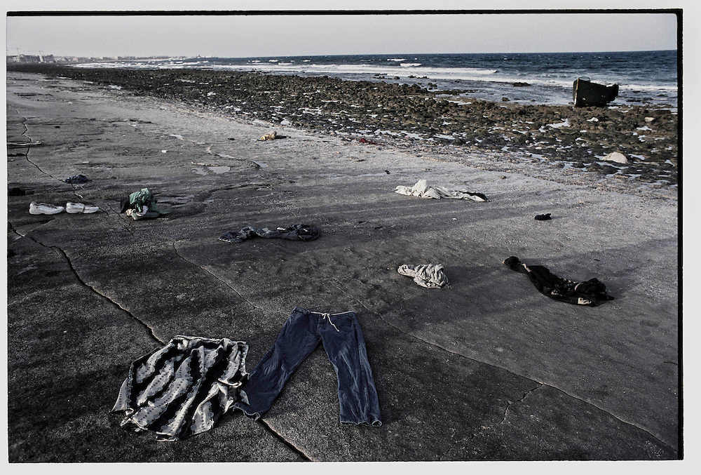 Fuerteveuntura, Canary Islands,Spain.Clothes left by Sub-Saharan immigrants after they arrived by boat from Morocco in the Spanish Canary Island of Fuerteventura, Spain. Thousands of African immigrants try to make the journey to Europe each year as illegal migrantslooking for a better life©Carmen Secanella