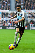 Miguel Almiron (#24) of Newcastle United on the ball during the Premier League match between Newcastle United and Huddersfield Town at St. James's Park, Newcastle, England on 23 February 2019.