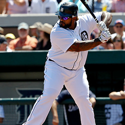 March 26, 2012; Lakeland, FL, USA; Detroit Tigers first baseman Prince Fielder (28) at bat during the bottom of the first inning of a spring training game against the Miami Marlins at Joker Marchant Stadium. Mandatory Credit: Derick E. Hingle-US PRESSWIRE
