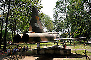 US F5E aircraft in the grounds of the Reunification Palace, Ho Chi Minh City (Saigon), Vietnam. This is the same model jet that bombed the palace just weeks prior to the fall of Saigon on April 30, 1975