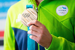 Bronze Medal from Olympic Games during Arrival of Zan Kosir, Bronze medalist at Olympic Games in Pyeongchang 2018, on February 26, 2018 in Aerodrom Ljubljana, Letalisce Jozeta Pucnika, Kranj, Slovenia. Photo by Ziga Zupan / Sportida