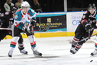 KELOWNA, CANADA - FEBRUARY 18: Brett Bulmer #19 of the Kelowna Rockets looks for the pass as the Red Deer Rebels visit the Kelowna Rockets on February 18, 2012 at Prospera Place in Kelowna, British Columbia, Canada (Photo by Marissa Baecker/Shoot the Breeze) *** Local Caption ***