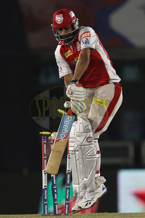 Praveen Kumar is bowled by Dale Steyn during match 59 of of the Pepsi Indian Premier League between The Kings XI Punjab and the Sunrisers Hyderabad held at the PCA Stadium, Mohal, India  on the 11th May 2013..Photo by Ron Gaunt-IPL-SPORTZPICS ..Use of this image is subject to the terms and conditions as outlined by the BCCI. These terms can be found by following this link:..http://www.sportzpics.co.za/image/I0000SoRagM2cIEc