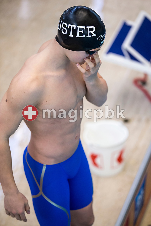 SCUW's Antonio DJAKOVIC of Switzerland prepares himself before competing in the men's 100m Freestyle Heats during the Swiss Swimming Championships at the Piscine des Vernets in Geneva, Switzerland, Saturday, March 25, 2017. (Photo by Patrick B. Kraemer / MAGICPBK)
