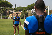 Forest Green Rovers Christian Doidge(9) has his picture taken by Forest Green Rovers Shamir Mullings(14) during the Forest Green Rovers Training session at Browns Sport and Leisure Club, Vilamoura, Portugal on 25 July 2017. Photo by Shane Healey.
