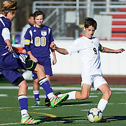 Quaker Valley High School vs Karns City High School in the quarter final game of the 2016 AA Pennsylvania Interscholastic Athletic Association (PIAA) Boys Soccer Championships at Neshannock High School Stadium in New Castle, PA, on November 12, 2016.  Quaker Valley went on to win the match 8-2.  Photo: Shelley Lipton.