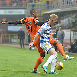 Wato Kuate (Dundee United) and Jamie Lindsay (Morton) during the SPFL Premiership quarter final play-off 2nd leg between Dundee United and Greenock Morton, where the home side went into the match with a 2-1 lead from the first leg, which proved too much for the Greenock side to overcome, as a win ensured the Tayside club progressed to the play-off semi final against Falkirk.<br /> <br /> (c) Dave Johnston | sportPix.org.uk