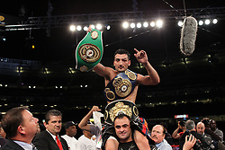 June 5, 2010; Bronx, NY; USA;  Vanes Martirosyan celebrates his decision win over Joe Greene at Yankee Stadium.