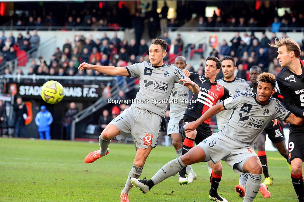 But Lucas OCAMPOS - 07.02.2015 - Rennes / Marseille - 24eme journee de Ligue 1<br /> Photo : Gaston Petrelli / Icon Sport