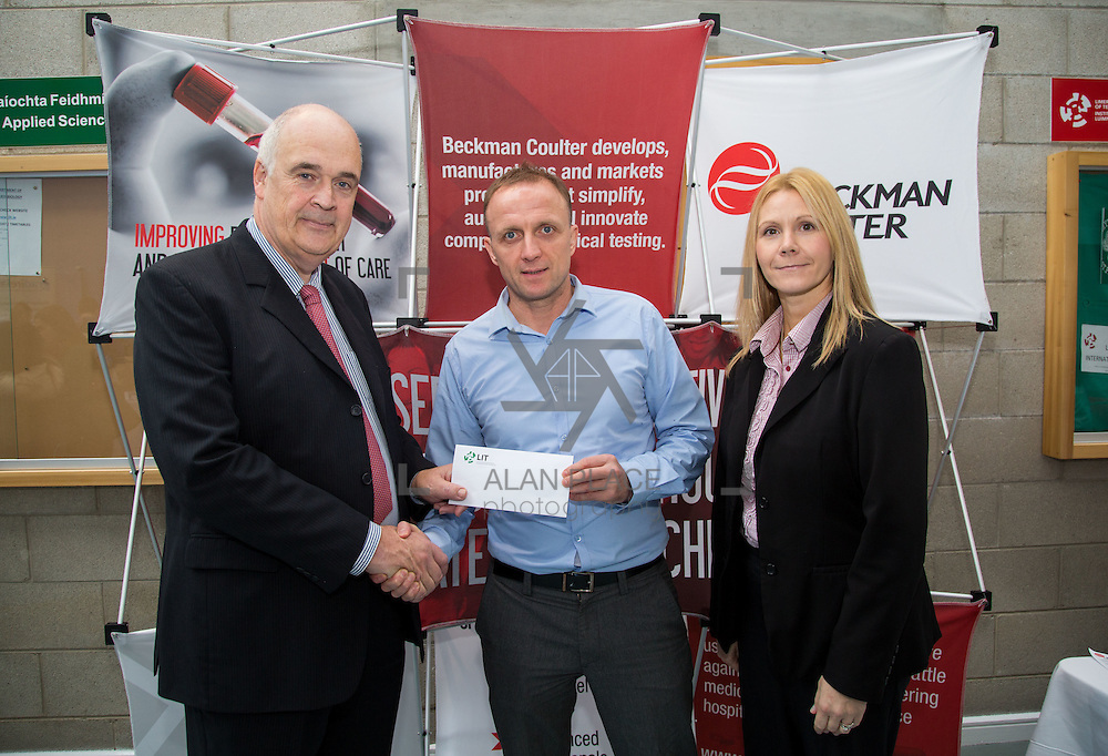 11.10.2016           <br /> Beckman Coulter Scholarship Limerick Institute of Technology. <br /> Pictured are left to right, Patrick Power, Regional Development Beckman Coulter, Eamon Heaney, 4th year student Bio Analysis and Biotechnology and Karen Kelly, HR manager, Beckman Coulter. Picture: Alan Place