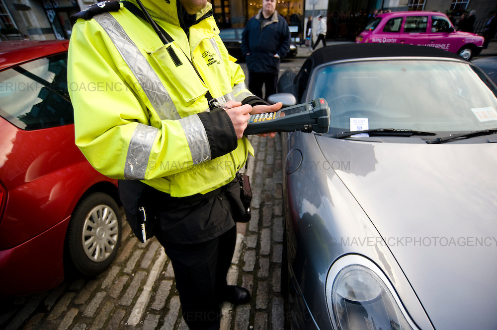 Traffic Wardens on George Street in Edinburgh.  There has been an increase on attacks on traffic wardens in the city.