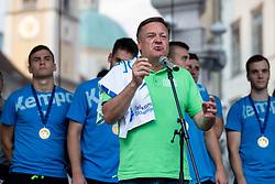 Major of Ljubljana, Zoran Jankovic during reception of Slovenian U20 handball players after winning gold at 2018 EHF U20 Men's European Championship, on July 30, 2018 in Ljubljana, Slovenia. Photo by Urban Urbanc / Sportida
