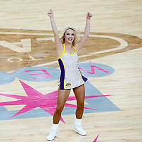 08 October 2017: A member of Laker Girls performs during the LA Lakers 75-69 victory over the Sacramento Kings, at the T-Mobile Arena, Las Vegas, Nevada, USA.