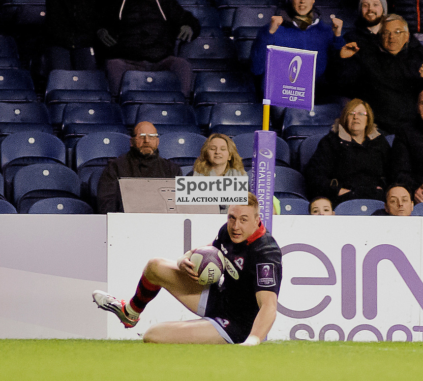 17/04/2015, Murrayfield, Scotland, Dougie Fife slides in to score a try during the Edinburgh Rugby v Newport Gwent Dragons European Challenge Cup game, ......(c) COLIN LUNN | SportPix.org.uk