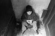 Prague, 2001:Bambino mendicante all'uscita della chiesa di San Nicola - beggar child, church of St. Nicholas .<br /> &copy;Andrea Sabbadini