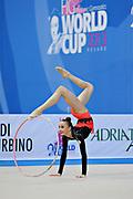 Durunda Marina during final at hoop in Pesaro World Cup 28 April 2013.<br /> Marina is a Azerbaijani individual rhythmic gymnast of Ukrainian origin, she born on June 12, 1997 in Sevastopol.