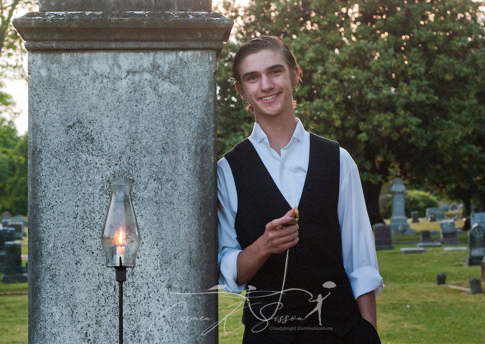 """Daniel Eisler portrays Albert Ernest Herring during """"Tales from the Crypt,"""" held at Friendship Cemetery in Columbus, Miss. April 16, 2010. The graveyard tour features dozens of dramatic skits spotlighting the lives of local historical figures and is an annual highlight of Columbus' Spring Pilgrimage. (Photo by Carmen K. Sisson/Cloudybright)"""