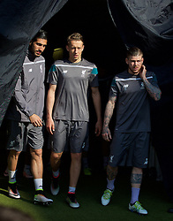 BASEL, SWITZERLAND - Tuesday, May 17, 2016: Liverpool's Emre Can, Lucas Leiva and Alberto Moreno during a training session ahead of the UEFA Europa League Final against Sevilla FC at St. Jakob-Park. (Pic by David Rawcliffe/Propaganda)