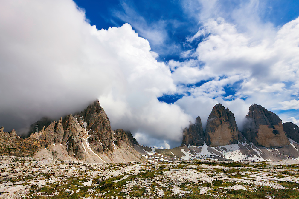 Mountain impression Paternkofel and Tre Cime - Europe, Italy, South Tyrol, Sexten Dolomites, Tre Cime - Forenoon - July 2009 - Mission Dolomites Tre Cime
