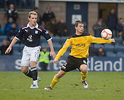Livingston's Keaghan Jacobs and Dundee's Gary Irvine - Dundee v Livingston, IRN BRU Scottish Football League, First Division at Dens Park - ..© David Young - .5 Foundry Place - .Monifieth - .Angus - .DD5 4BB - .Tel: 07765 252616 - .email: davidyoungphoto@gmail.com.web: www.davidyoungphoto.co.uk