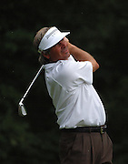 Jun 26, 2006; Gaylord MI; USA; Fred Couples watches his tee shot on the 8th hole during the final round ING Par-3 Shootout at Treetops Resort in Gaylord Michigan.