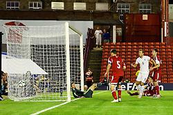 Ben Gibson of England (not in frame) scores the opening goal to make it 1-0 - Photo mandatory by-line: Matt McNulty/JMP - Mobile: 07966 386802 - 11/06/2015 - SPORT - Football - Barnsley - Oakwell Stadium - England U21 v Belarus U21 - International Friendly U21s