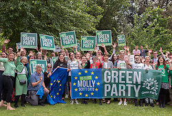 © Licensed to London News Pictures. 20/05/2019. Bristol, UK. The Green Party hold a rally at the University of Bristol Royal Fort Gardens as part of campaigning in the elections for the European Parliament. Speakers included Green MP Caroline Lucas, and south west England candidates Molly Scott Cato and Carla Denyer. Photo credit: Simon Chapman/LNP