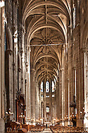 Magnificent interior of St. Eustache Church in Paris, France. Under construction 1532-1632, Louis XIV received communion here and Mozart chose it for his mother's funeral.  Aspect Ratio 1w x 1.5h