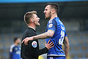 Ollie Yates (referee) calms Keil O'Brien (Halifax) down as he complains about a decision that went against his team during the Conference Premier League match between FC Halifax Town and Guiseley at the Shay, Halifax, United Kingdom on 5 December 2015. Photo by Mark P Doherty.