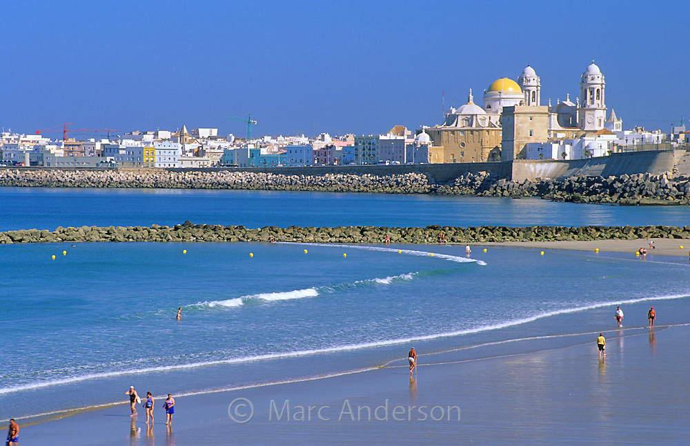 View of Cadiz and beach, Spain